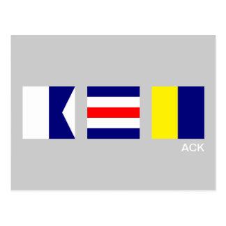 Nautical Signal Flag ACK Nantucket Postcard