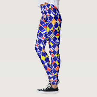 Nautical Signal Flags Checkers Decor on Leggings
