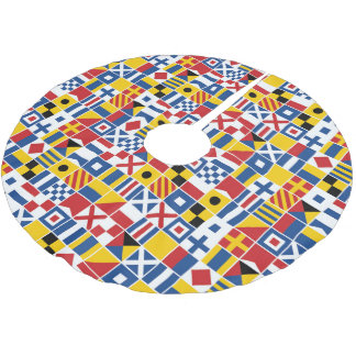 Nautical Signal Flags Pattern Brushed Polyester Tree Skirt