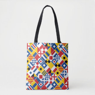 Nautical Signal Flags Pattern Tote Bag