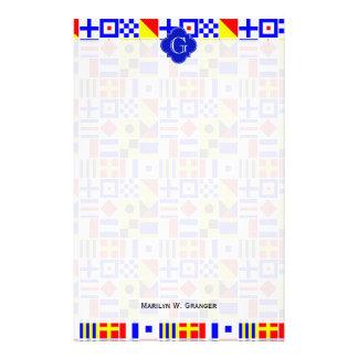 Nautical Signal Flags Royal Quatrefoil Monogram Customized Stationery