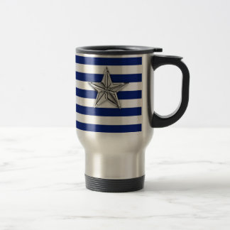Nautical Silver Star on Blue Stripes Travel Mug