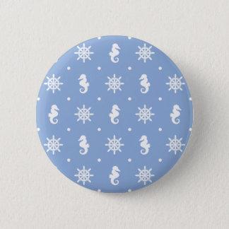 Nautical sky blue pattern 2 inch round button