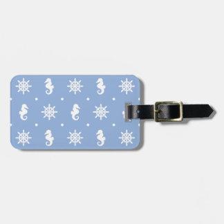 Nautical sky blue pattern bag tag