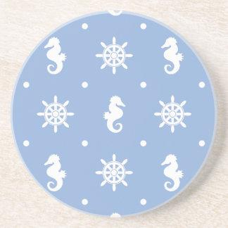 Nautical sky blue pattern coaster