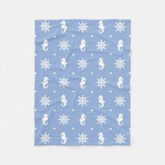 Nautical sky blue pattern fleece blanket