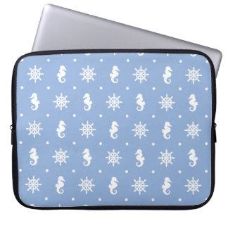 Nautical sky blue pattern laptop sleeve