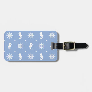 Nautical sky blue pattern luggage tag