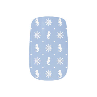 Nautical sky blue pattern minx nail art