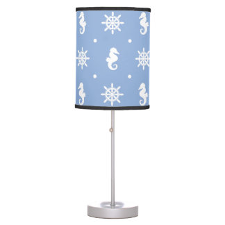 Nautical sky blue pattern table lamp