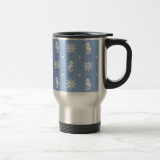 Nautical sky blue pattern travel mug