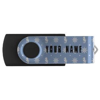 Nautical sky blue pattern USB flash drive