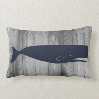 Nautical Sperm Whale Silhouette & Gray Wood Planks Lumbar Pillow