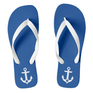 Nautical Star Anchor Blue and White Flip Flops