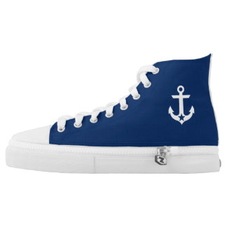 Nautical Star Anchor Navy Blue High Tops