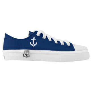 Nautical Star Anchor Navy Blue Low-Top Sneakers