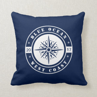Nautical Star, Compass, Blue and White Throw Pillow