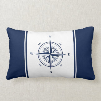 Nautical Star on Blue and White Lumbar Pillow