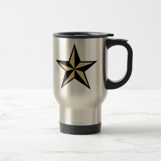 Nautical Star Travel Mug - Black & Beige Star
