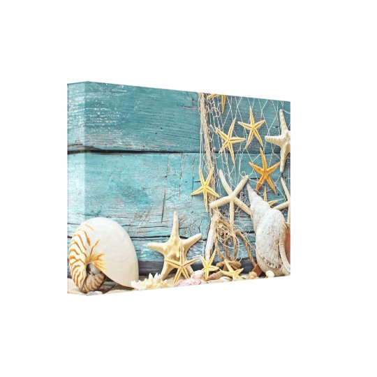 Nautical Starfish and Fisherman Net Canvas Print