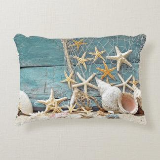 Nautical Starfish and Fisherman Net Decorative Pillow