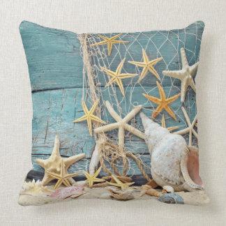 Nautical Starfish and Fisherman Net Throw Pillow