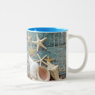 Nautical Starfish and Fisherman Net Two-Tone Coffee Mug