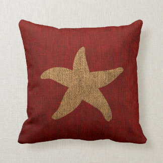 Nautical Starfish in Rustic Red and Burlap Look Throw Pillow
