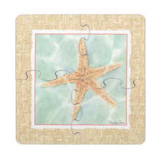 Nautical Starfish in Water Puzzle Coaster