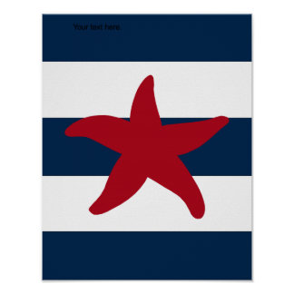 Nautical Starfish print red, navy and white