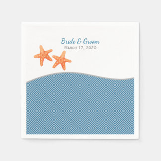 Nautical Starfish Wedding Disposable Napkins