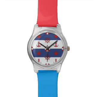 Nautical Stars And Stripes Pattern Wrist Watches