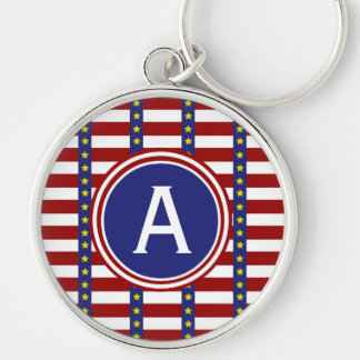 Nautical Stars and Stripes Personalized Monogram Silver-Colored Round Keychain