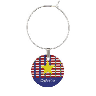 Nautical Stars and Stripes Personalized Wine Charm
