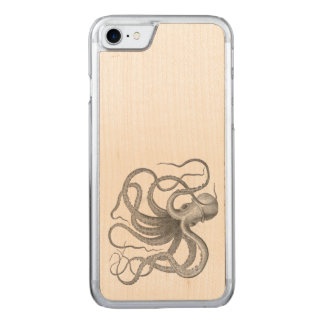 Nautical steampunk octopus Vintage kraken wood Carved iPhone 8/7 Case