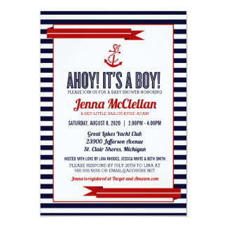 Nautical Stripe & Anchor Baby Shower Invitation