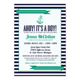 Nautical Stripe Anchor Green & Navy Baby Shower Card