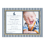 Nautical Stripe and Sailboat Baptism 5x7 Paper Invitation Card