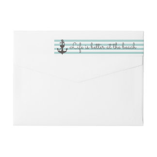 Nautical Stripe in Pool Blue Beachy Return Address Wrap Around Label