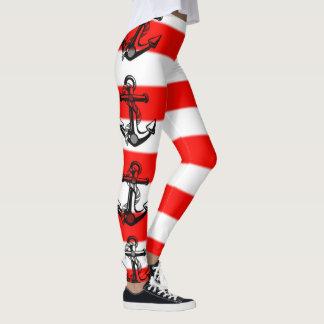 Nautical Striped Anchor Leggings