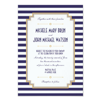 Nautical Striped Navy Blue White Wedding Invite