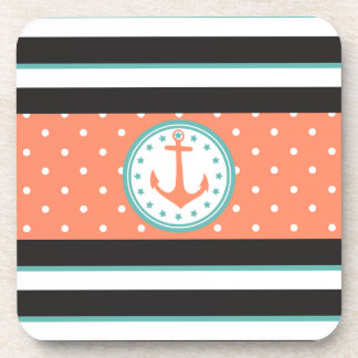 Nautical Stripes & Anchor (Coral/Turquoise) Drink Coaster