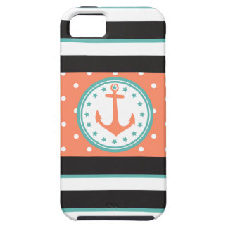 Nautical Stripes & Anchor (Coral/Turquoise) iPhone 5 Covers