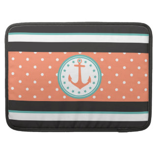 Nautical Stripes & Anchor (Coral/Turquoise) MacBook Pro Sleeve