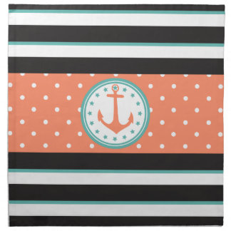 Nautical Stripes & Anchor (Coral/Turquoise) Napkin