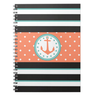 Nautical Stripes & Anchor (Coral/Turquoise) Notebooks