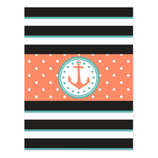 Nautical Stripes & Anchor (Coral/Turquoise) Postcard
