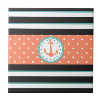 Nautical Stripes & Anchor (Coral/Turquoise) Tile