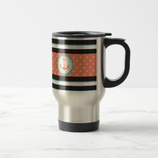 Nautical Stripes & Anchor (Coral/Turquoise) Travel Mug