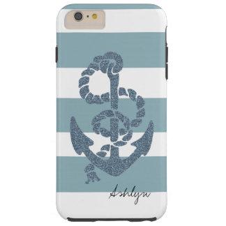 Nautical Stripes Anchor Tough iPhone 6 Plus Case